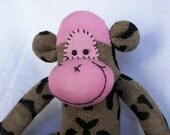 Sock Monkey Doll Plush Toy - in Leopard Spots with Accents of Pink - Plush Stuffed Animal