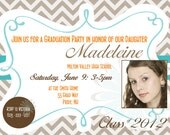 Custom Printable Graduation Party Invitation or Printable Graduation Announcement Photo Card in Chevron Brown Tan Teal Orange