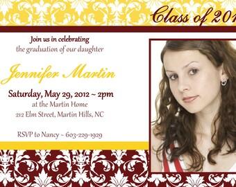 Custom Printable Graduation Party Invitation or Printable Graduation Announcement Photo Card in Yellow Maroon Gold Damask