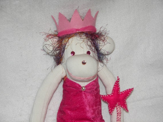 Princess Sock Monkey Doll Plush Toy - Pink with Crown and Star Fairy Magic Wand - One of a Kind (OOAK)