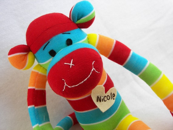 Sock Monkey Doll Plush Toy - in Rainbow Stripes of  Bright Colors - MADE TO ORDER