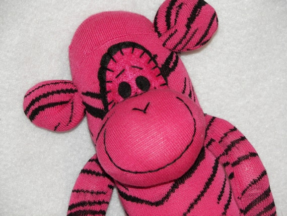Sock Monkey Doll Plush Toy - In Pink with Black Zebra Stripes - Can Be Personalized Free