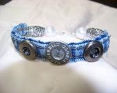 Vintage Button and Denim Bracelet