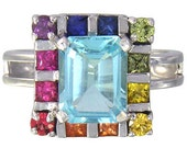Multicolor Rainbow Sapphire & Blue Topaz Rubix Cube Ring 925 Sterling Silver : sku 1785-925