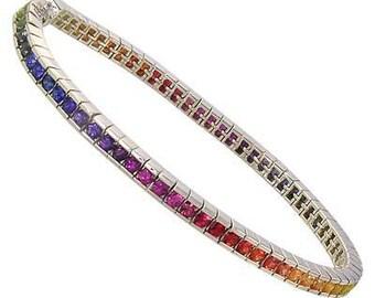 8ct Multicolor Rainbow Sapphire Tennis Bracelet 925 Sterling Silver  : sku BRC225-24-925