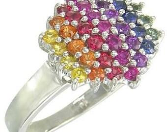 Multicolor Rainbow Sapphire Engagement Wedding Ring 18K White Gold  : sku 1584-18K-WG
