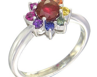 Multicolor Rainbow Sapphire & Ruby Cluster Ring 18K White Gold  : sku 1549-white-18K