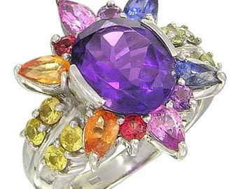 Multicolor Rainbow Sapphire & Amethyst Color Explosion Ring 14K White Gold : sku 1590-14K-WG
