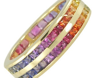 Multicolor Rainbow Sapphire Double Row Eternity Ring 18K Yellow Gold (8ct tw) : sku 387-18k-yg