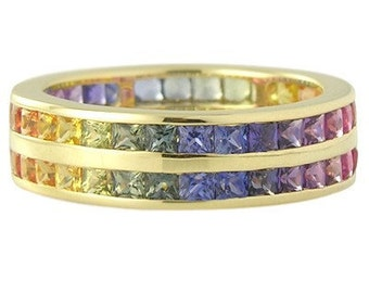 Multicolor Rainbow Sapphire Double Row Eternity Ring 14K Yellow Gold (11ct tw) : sku 459-14k-yg