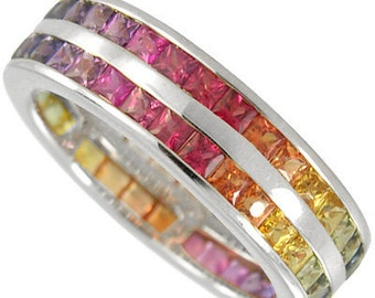 Multicolor Rainbow Sapphire Double Row Eternity Ring 18K White Gold (8ct tw): sku 387-18k-wg