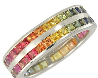 Multicolor Rainbow Sapphire Double Row Eternity Ring 18K White Gold (11ct tw): sku 459-18k-wg