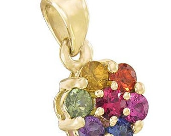 Multicolor Rainbow Sapphire Flower Cluster Pendant 18K Yellow Gold : sku 1616-18K-YG