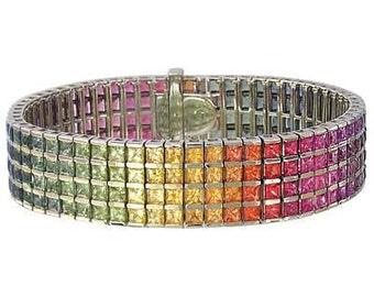 Multicolor Rainbow Sapphire Channel Set 4 Row Tennis Bracelet 14K White Gold (40ct tw) SKU: 1572-14K-Wg