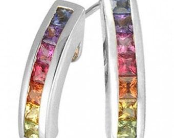 Multicolor Rainbow Sapphire Earrings Hoop Huggie 14K White Gold (1ct tw) SKU: 888-14K-Wg