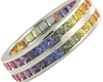 Multicolor Rainbow Sapphire Double Row Eternity Ring 18K White Gold (6ct tw): sku 391-18k-wg