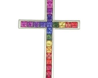 Multicolor Rainbow Sapphire Religious Crucifix Cross Pendant 14K White Gold (5ct tw) : sku 438-14k-wg