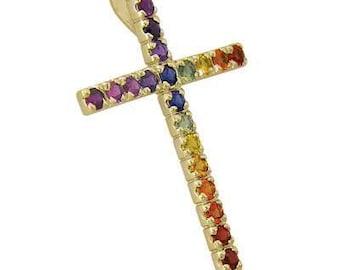 Multicolor Rainbow Sapphire Religious Crucifix Pendant 18K Yellow Gold (3ct tw) SKU: 1525-18K-Yg
