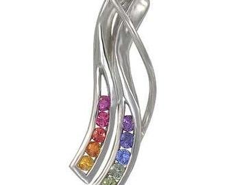 Multicolor Rainbow Sapphire Slide Pendant 14K White Gold : sku 1574-14K-WG