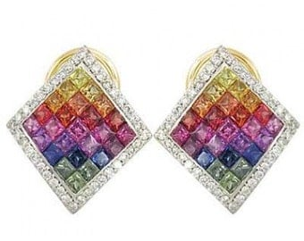 Multicolor Rainbow Sapphire & Diamond Invisible Set Earrings 14K Yellow Gold (5.5ct tw) SKU: 428-14K-Yg