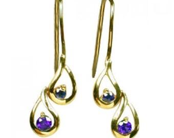 Multicolor Rainbow Sapphire Journey Earrings 14K Yellow Gold (1/2ct tw) SKU: 393-14K-Yg
