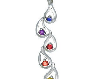 Multicolor Rainbow Sapphire Journey Pendant 925 Sterling Silver : sku 392 - 925