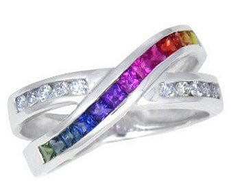 Multicolor Rainbow Sapphire & Diamond Crossover Ring 18K White Gold : sku 398-18k-wg