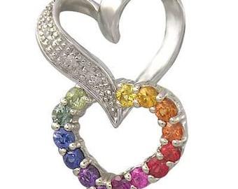 Multicolor Rainbow Sapphire & Diamond Friendship Love Heart Pendant 925 Sterling Silver  : sku 1602-925