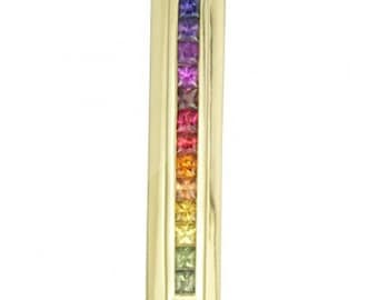Multicolor Rainbow Sapphire Line Pendant 14K Yellow Gold (2ct tw) SKU: 664-14K-Yg