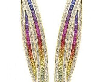 Multicolor Rainbow Sapphire & Diamond Inside Out Hoop Earrings 18K Yellow Gold (7.8ct tw) SKU: 1608-18K-Yg