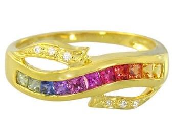 Multicolor Rainbow Sapphire & Diamond Classic Twist Ring 14K Yellow Gold (0.69ct tw) : sku 1456-14k-yg