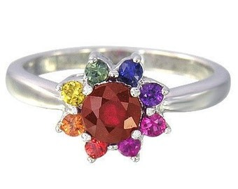 Multicolor Rainbow Sapphire & Ruby Cluster Ring 14K White Gold (1.23ct tw) SKU: 1549-14K-Wg