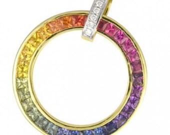 Multicolor Rainbow Sapphire & Diamond Large Circle Pendant 18K Yellow Gold (3.54ct tw) SKU: 1070-18K-Yg