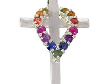 Multicolor Rainbow Sapphire Heart on Cross Pendant 14K White Gold (3/4ct tw) SKU: 1463-14K-Wg