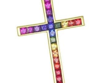 Multicolor Rainbow Sapphire Religious Crucifix Cross Pendant 18K Yellow Gold (5ct tw) : sku 438-18k-yg