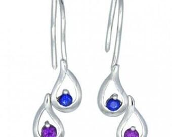 Multicolor Rainbow Sapphire Journey Earrings 925 Sterling Silver (1/2ct tw) SKU: 393-925