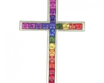 Multicolor Rainbow Sapphire Religious Crucifix Cross Pendant 925 Sterling Silver (5ct tw) SKU: 438-925