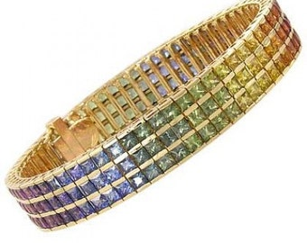 Multicolor Rainbow Sapphire Tripple Row Channel Set Tennis Bracelet 18K Yellow Gold (30ct tw) : sku 1613-18K-YG