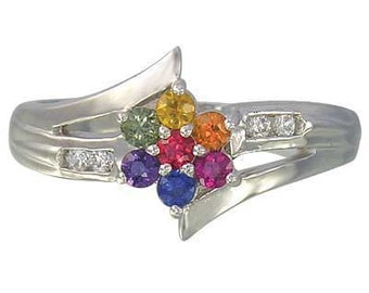 Multicolor Rainbow Sapphire & Diamond Fashion Ring 14K White Gold : sku 1599-14K-WG