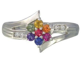 Multicolor Rainbow Sapphire & Diamond Fashion Ring 925 Sterling Silver : sku 1599-925