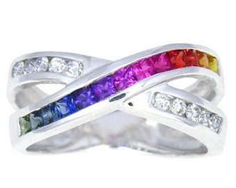 Multicolor Rainbow Sapphire & Diamond Crossover Ring 14K White Gold : sku 398-14k-wg