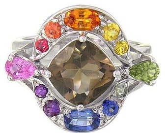 Multicolor Rainbow Sapphire & Smoky Quartz Multi Shape Ring 925 Sterling Silver  : sku 1575-925