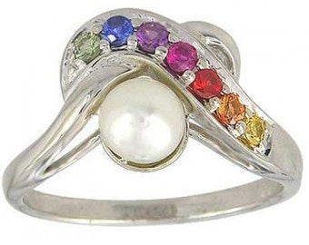 Multicolor Rainbow Sapphire & Pearl Classic Ring 14K White Gold (1/4ct tw) SKU: 1604-14K-Wg