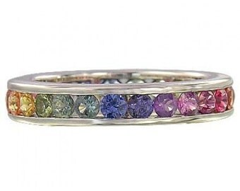 Multicolor Rainbow Sapphire Eternity Ring 925 Sterling Silver (5ct tw): sku R2043-925
