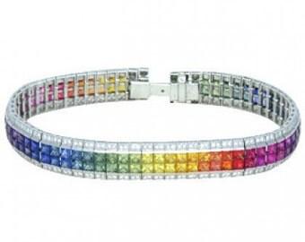 Multicolor Rainbow Sapphire & Diamond Double Row Invisible Set Tennis Bracelet 18K White Gold (27ct tw) SKU: 471-18K-Wg