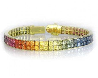Multicolor Rainbow Sapphire Double Row Invisible Set Tennis Bracelet 14K Yellow Gold (20ct tw) SKU: 410-14K-Yg