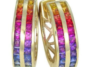 Multicolor Rainbow Sapphire Earrings Double Row Huggie 18K Yellow Gold (5ct tw) : sku 437-18k-yg