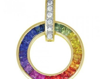 Multicolor Rainbow Sapphire & Diamond Round Slide Pendant 14K Yellow Gold (2.48ct tw) SKU: 432-14K-Yg