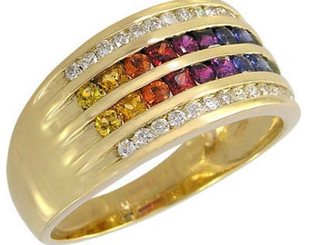 Multicolor Rainbow Sapphire & Diamond Multi Shape Band Ring 18K Yellow Gold (1.35ct tw): sku 1523-yellow-18K