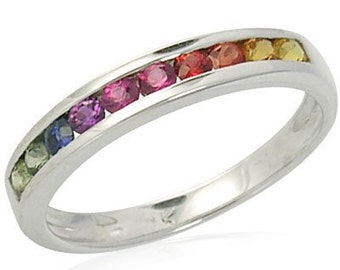Multicolor Rainbow Sapphire Half Eternity Band Ring 925 Sterling Silver : sku 891-925